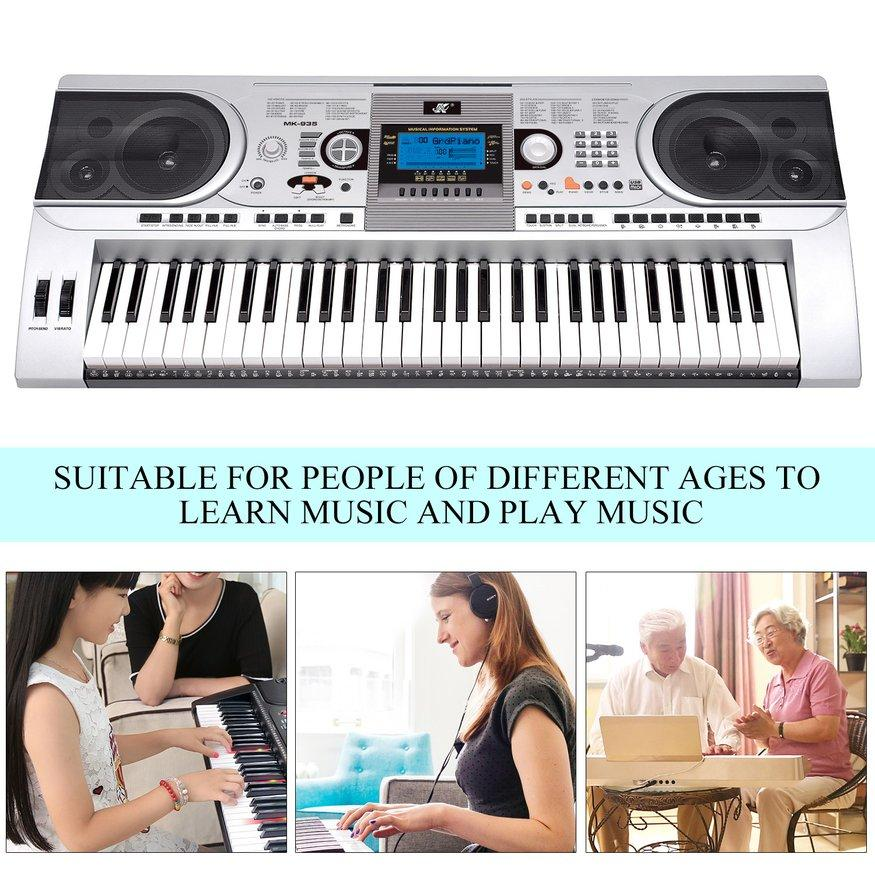 UINN MK-935 162 Voices 200 Styles Electronic Keyboard LCD Electone With USB-MIDI Port silver EU plug