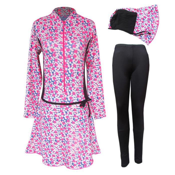 Baju Renang Muslimah Motif Love Pink size M-6L
