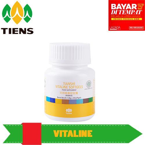 Pemutih wajah vitaline softgel herbal tiens 10 kapsul .