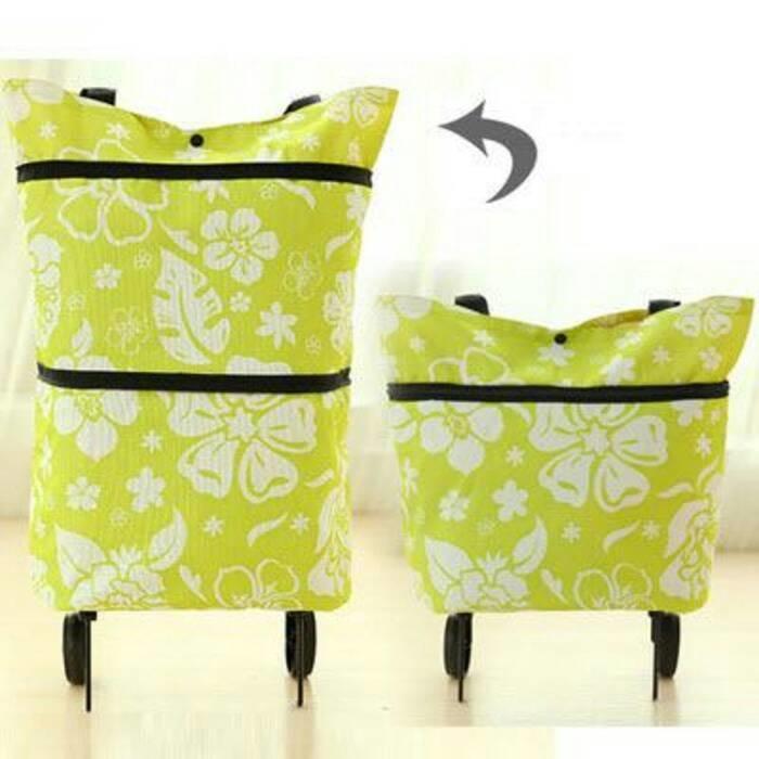 Tas Troli Lipat Bunga Foldable Shopping Trolley Bag Flower dengan Roda - TbWk5X
