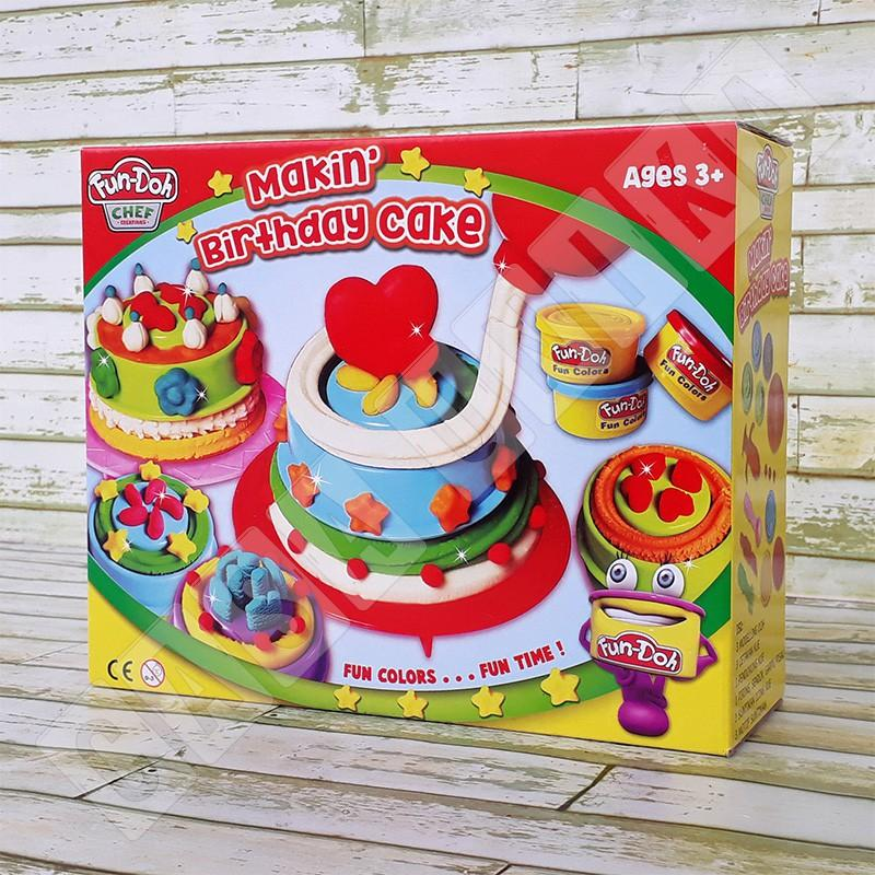 Fun Doh Making Birthday Cake - Lilin Mainan Anak FunDoh / PlayDoh / Play Doh