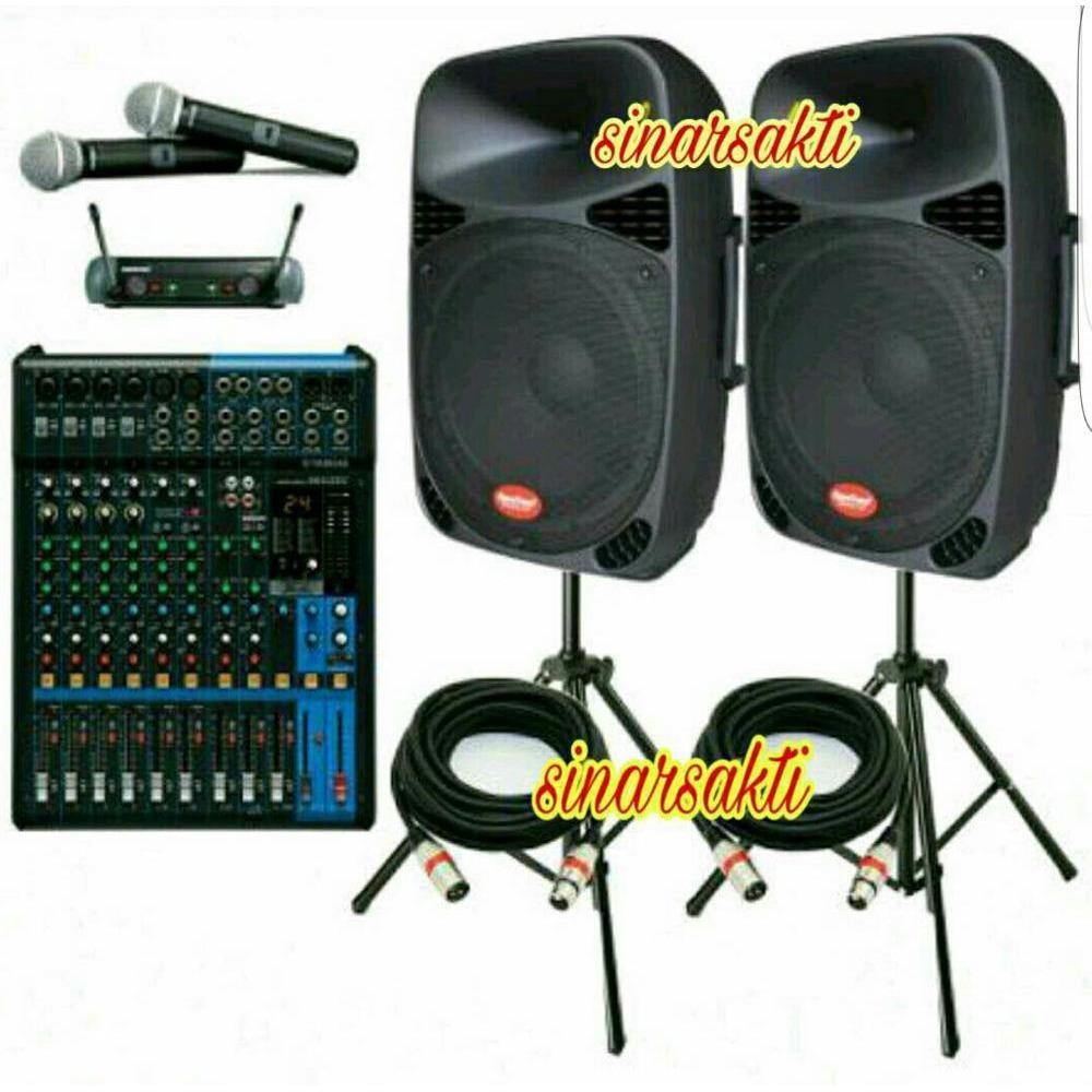 MURAH Paket Sound System Outdoor dan indoor Mixer Yamaha 12 CH dan Aktif Speaker Baretone 15 inch