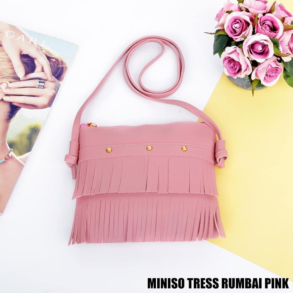 TAS MINISO TRESS RUMBAI PINK STUD