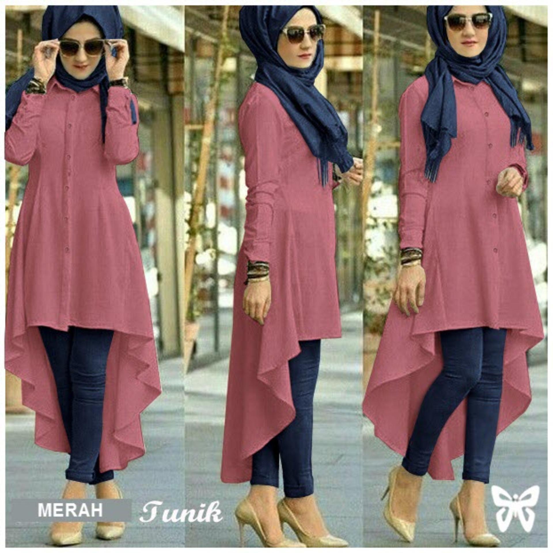 Flavia Store Kemeja Tunik Wanita Lengan Panjang FS0651 - MERAH / Atasan Muslimah / Baju Muslim / Blouse Terusan / Gamis / Srisadora