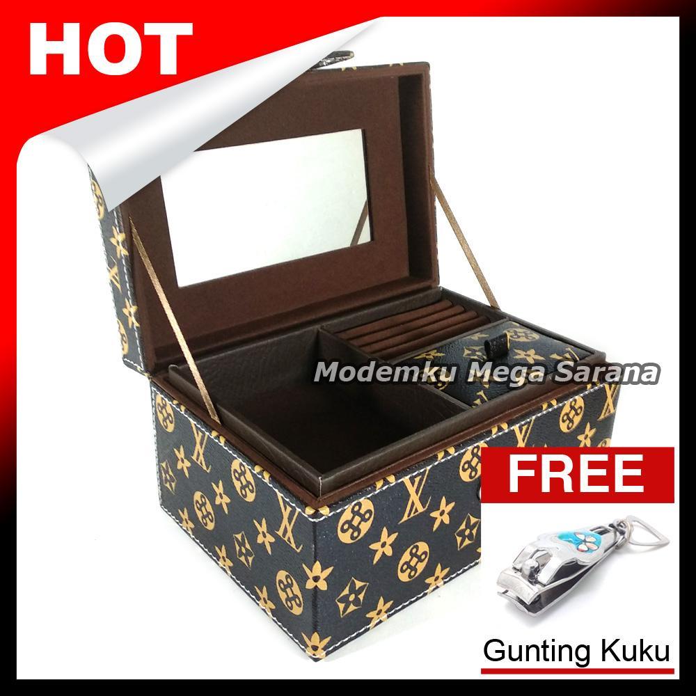 Kotak Box Perhiasan Kalung Gelang Cincin & Aksesoris 21x14x11 cm - Coklat LV