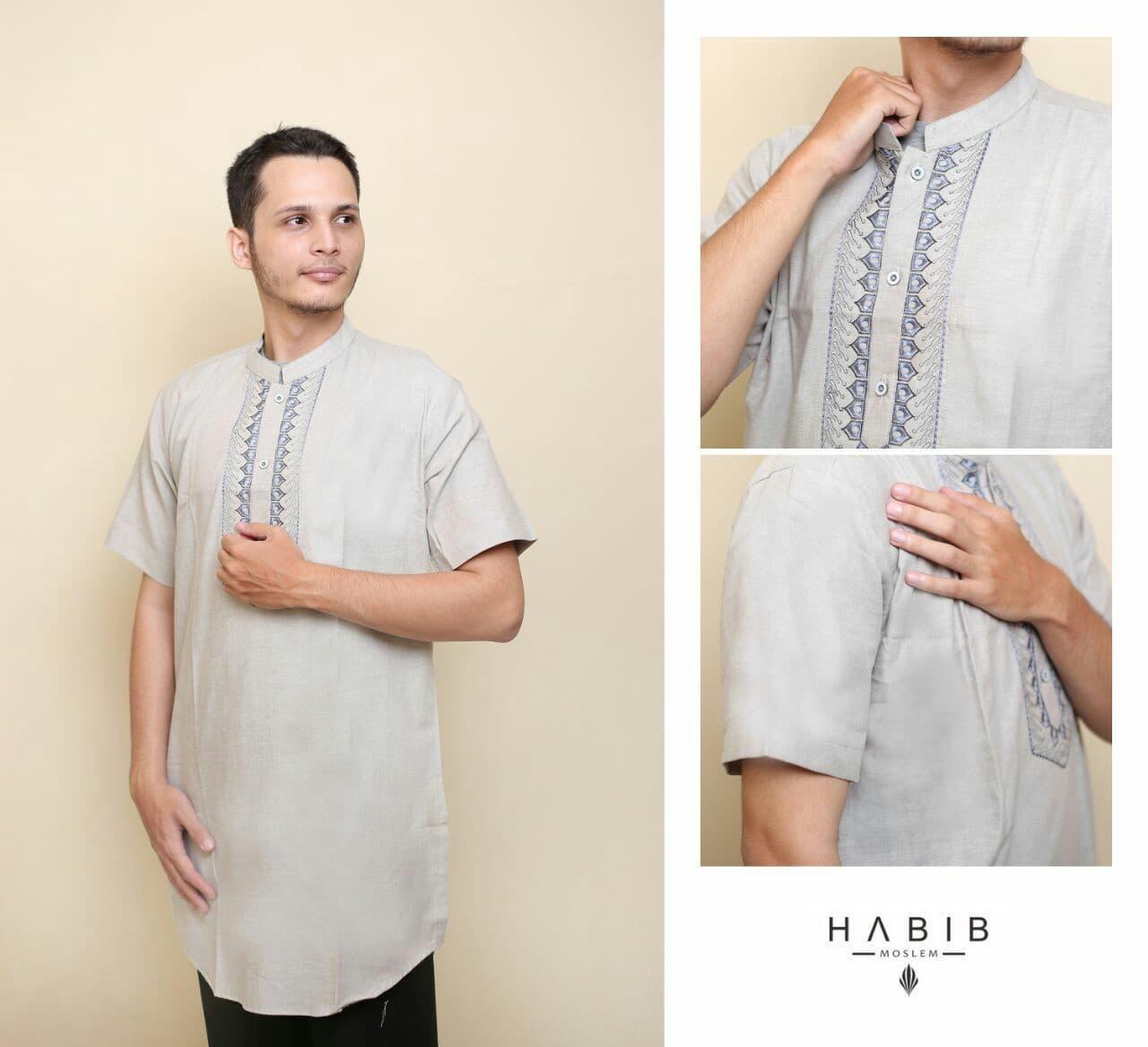 Baju Pria Kemeja Baju Koko Gaul Habib Pendek Abu Muda