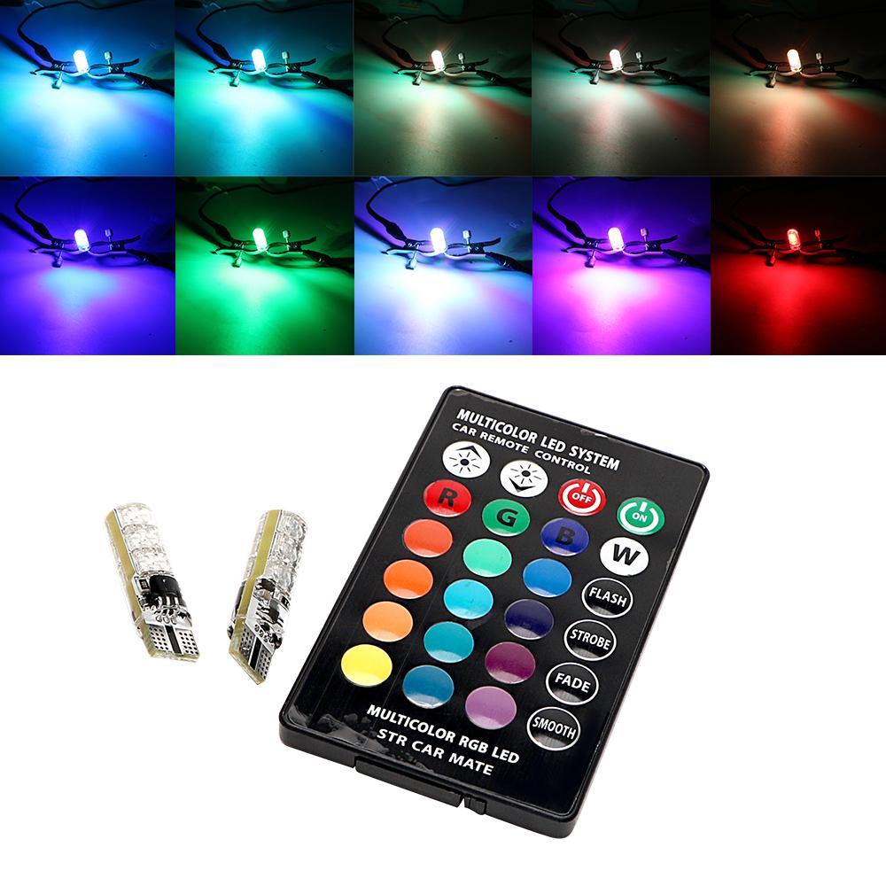 2 Pcs LED Lamp 12V T10 W5W 5050 SMD RGB Car & Motorcycle / Lampu Senja Motor dan Mobil 16 Warna + Remote