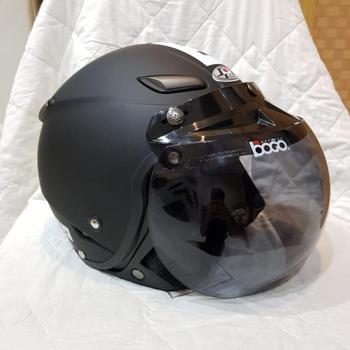Helm Retro Bogo Half Face Black Doff + Visor Bogo Flat Clear