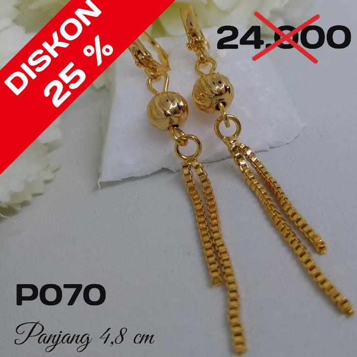 P70 Anting Rumbai Panjang Xuping  - Perhiasan Lapis Emas 18K