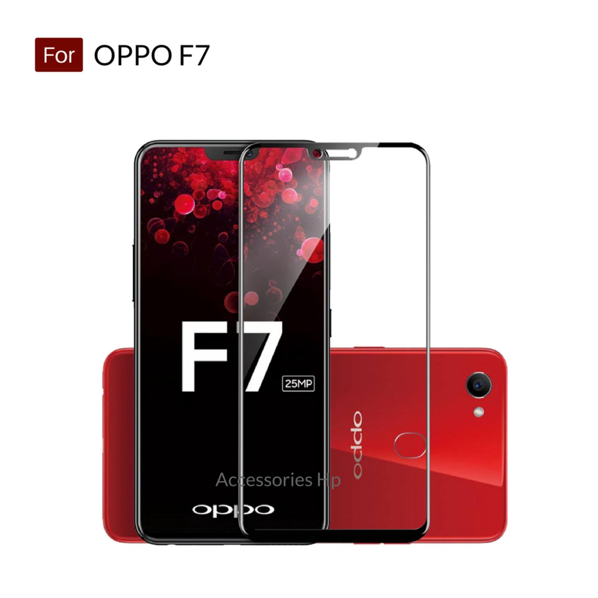 Accessories Hp Full Cover Tempered Glass Warna Screen Protector for Oppo F7 - Black