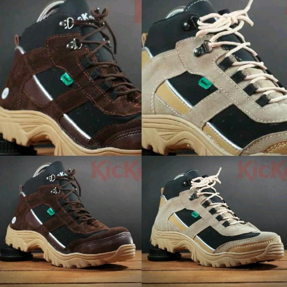 Promo Sepatu pria kickers safety boots ujung besi sepatu teknisi bikers tracking Pdl Pdh tni polri sneakers adidas nike puma Fashion