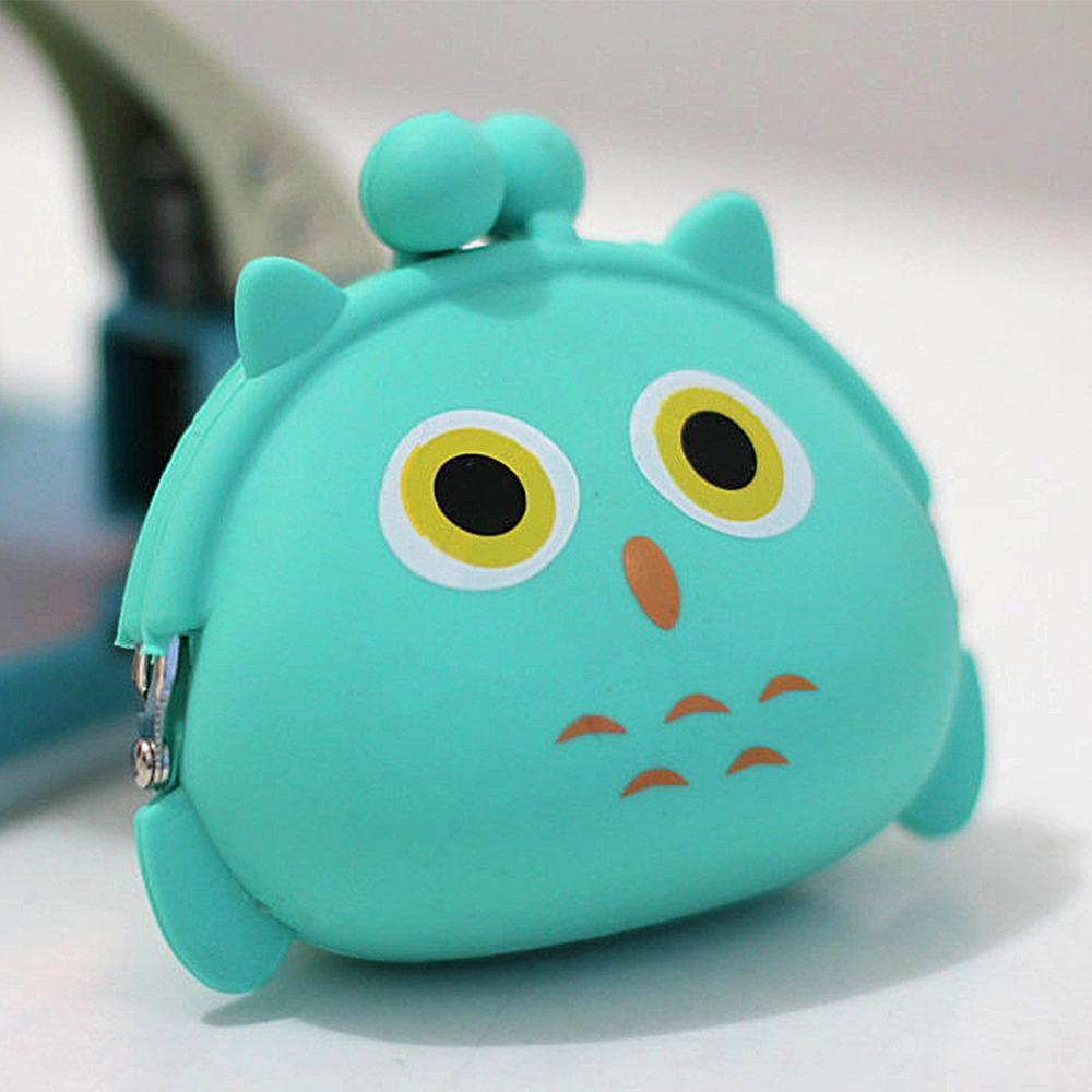 Dompet Koin Karakter Silikon Silicone Pouch Tas Receh Lucu Unik - HIJAU OWL - EDW022