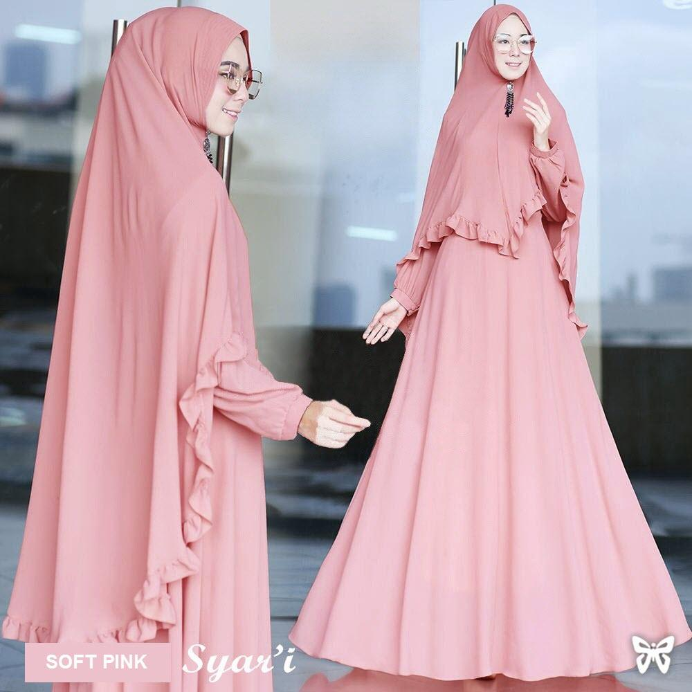 Flavia Store Gamis Syari Set 2 in 1 FS0561 - SOFT PINK / Baju Muslim Wanita Syar'i / Gaun Muslimah / Maxi Dress Lengan Panjang / Hijab Polos / Srjuanita
