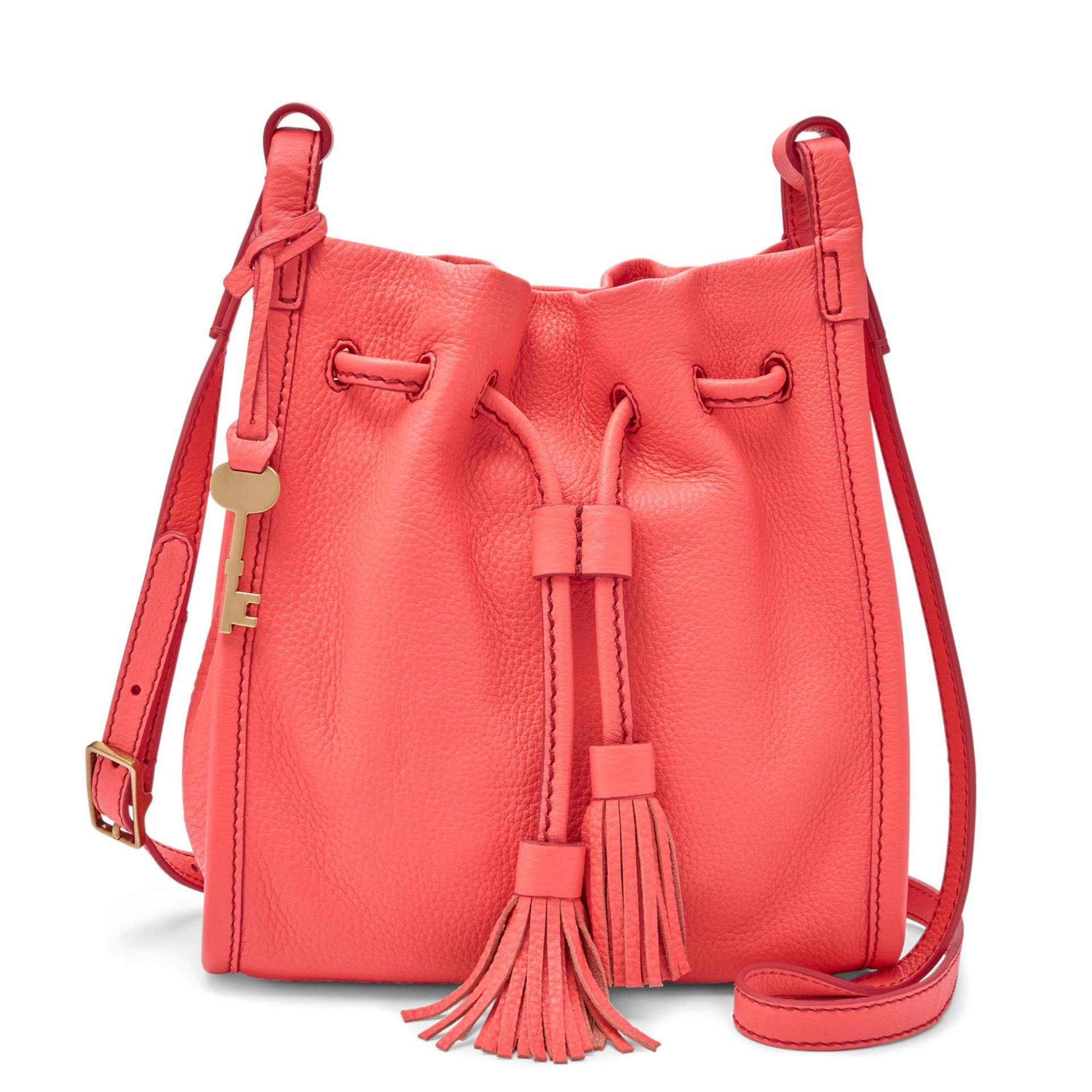 Fossil Claire - Leather - Small Drawstring - Pink  - Tas Wanita - ZB7110-281 - SL