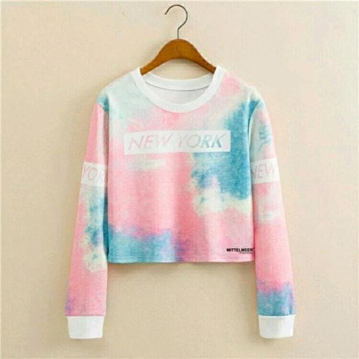 Promo!! tanah abang blouse crop Sweater Newyork Splash