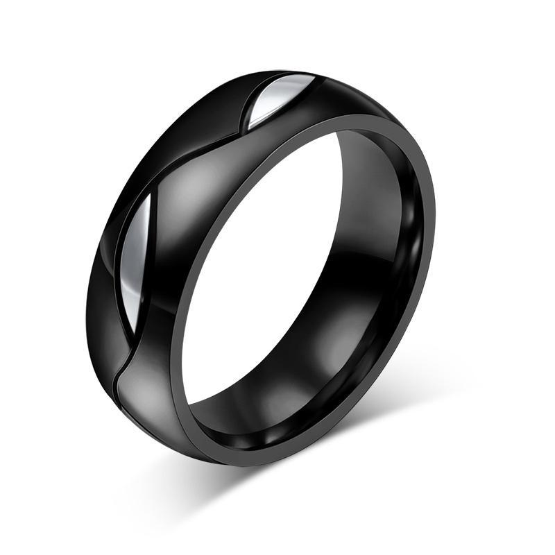 Vnox Cincin Pernikahan Hitam untuk Kekasih CZ Cincin Pasangan 316L Pertunangan Baja Nirkarat Perhiasan-Intl