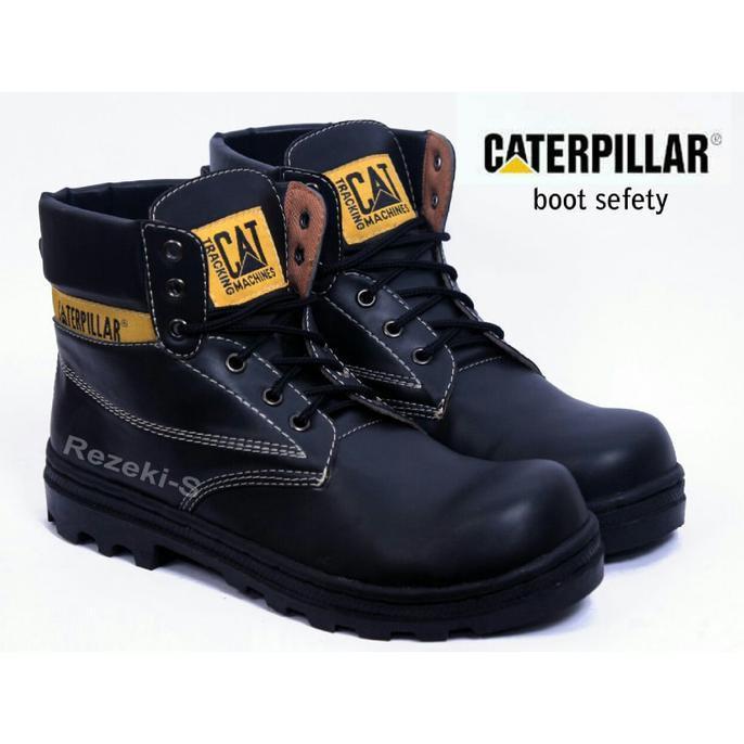 Sepatu Cat/Caterpillar Boots Licin Sol Hitam - Ymzddr
