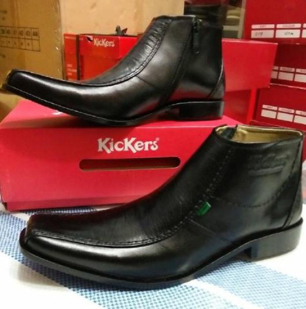 Promo Sepatu Kickers pantofel boots tinggi resleting Kulit asli warna hitam untuk kerja kantor formal resmi pesta pria  Fashion