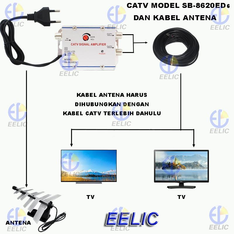 Detail Gambar EELIC CSA-8620ED6 MIX PENGUAT SINYAL 20 dB CATV SIGNAL AMPLIFIER TV BROADBAND 1 INPUT 2 OUTPUT BOOSTER INDOOR 2 Watt TELEVISI MIX + KAA-20M ...