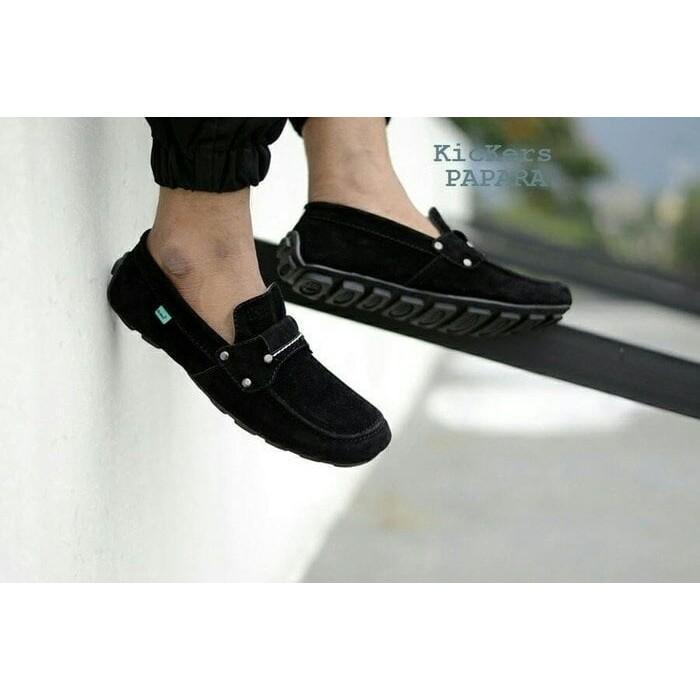 sepatu casual slop slip on formal kickers mocasin papara black loafers santai kerja