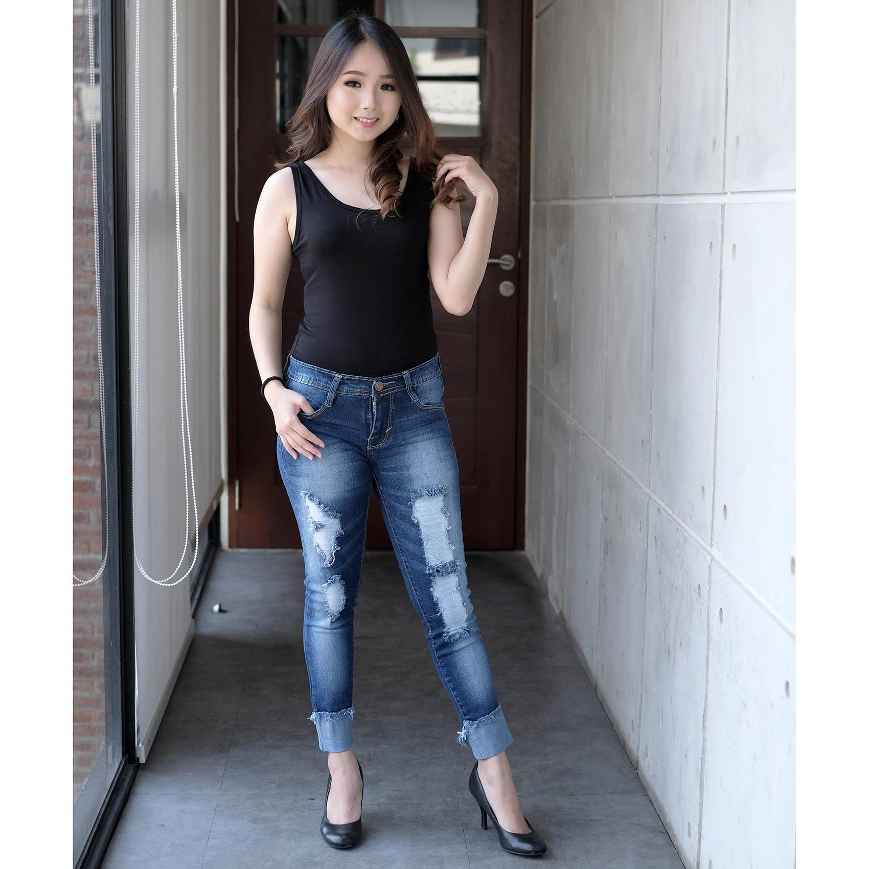 Rumah Jeans / Celana Ripped Jeans Wanita / Stik Balik Sobek Lapis / Skinny Soft Jeans Cewek Sobek Tidak Tembus