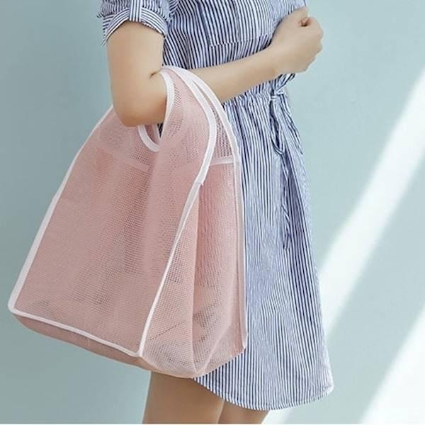 Tas Belanja Jaring Warna Tas Pantai / Shopping Bag Bisa Dilipat FTS070 - Biru