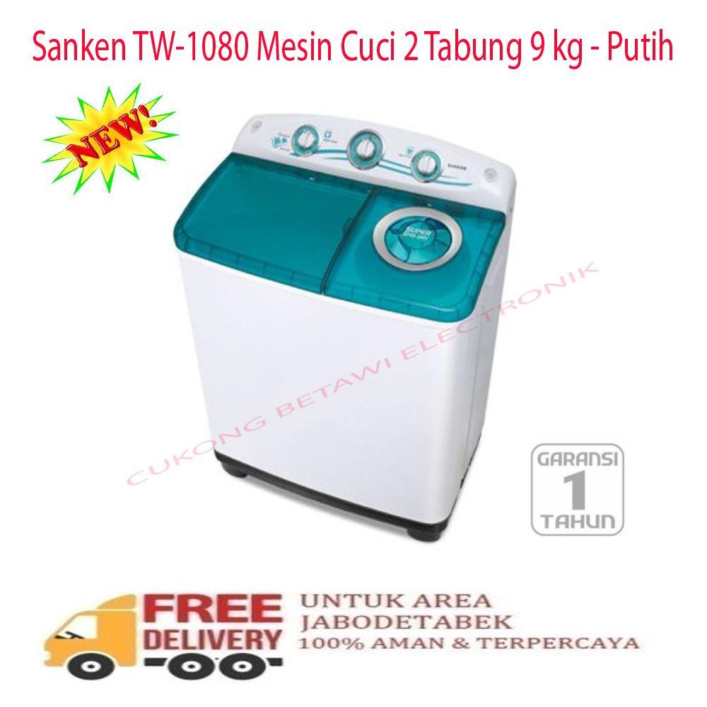 Sanken TW-1080 Mesin Cuci 2 Tabung 9 kg-Putih-KHUSUS JABODETABEK