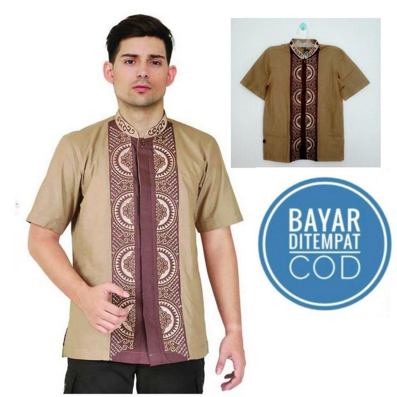 Baju Koko / Baju Muslim Pria /  Baju shalat / Baju Gamis / Kemeja Katun - Coklat