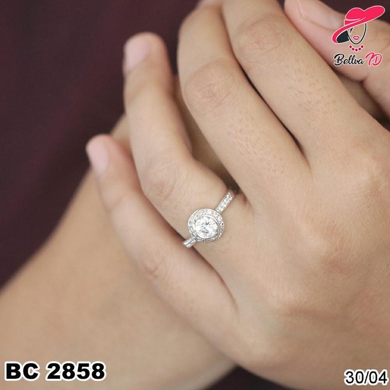 Perhiasan Cincin Titanium Berlian Mata 1 Ekslusif Kekinian Terbatas C 2858