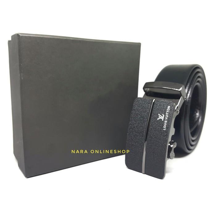 GESPER IKAT PINGGANG KULIT PRIA MODEL REL  LV 03 BLACK - Fhdig