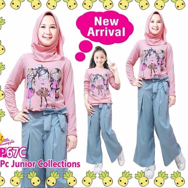 little pineapple setelan hijab salem celana kulot 3Dara anak 6-11Y