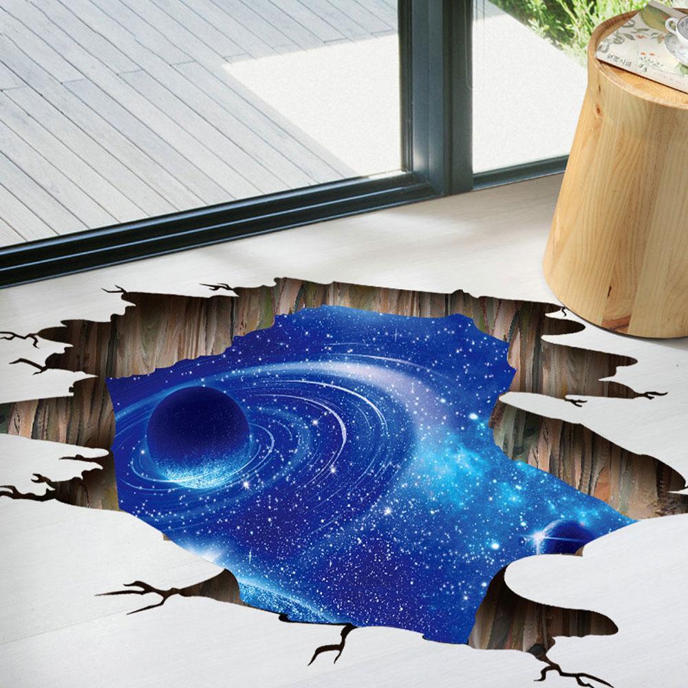 Harga Baru Honghui 3D Galaksi Planet Ruang Mural Dinding Stiker, cosmic Milky Cara Floor/Ceiling/Jendela Dapat Dilepaskan Dinding Stiker Perekat Diri Wallpaper Dekor untuk Rumah-Internasional
