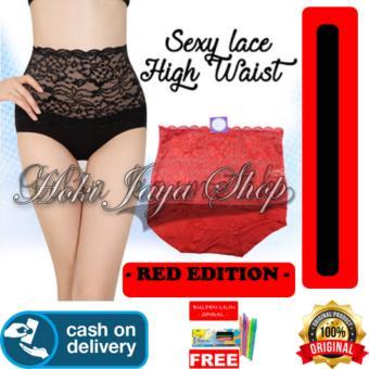 Pencari Harga HOKI COD - Munafie SEXY LACE High Waist Panties Slim Pant Korset Original Import Pelangsing Celana Bahan Berkualitas - MERAH + Gratis Pulpen ...
