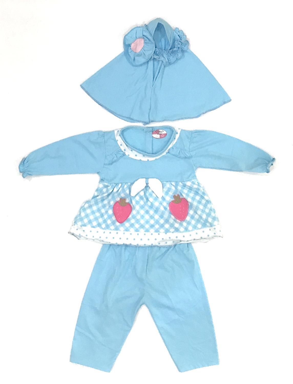 BAYIe - Setelan Baju Muslim Bayi Perempuan motif Stawberry TIVVI / Gamis anak cewek umur 6