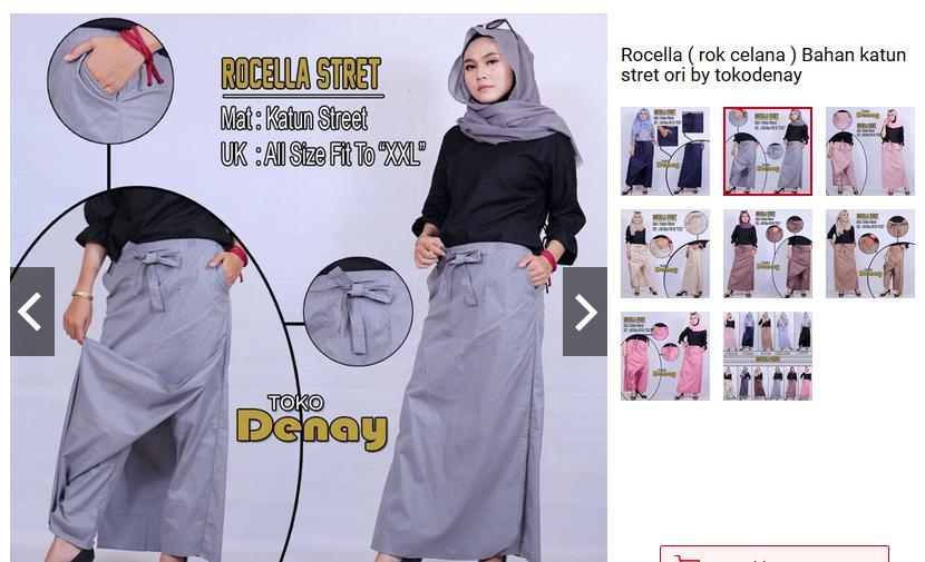 Rocella ( rok celana ) Bahan katun stret ori