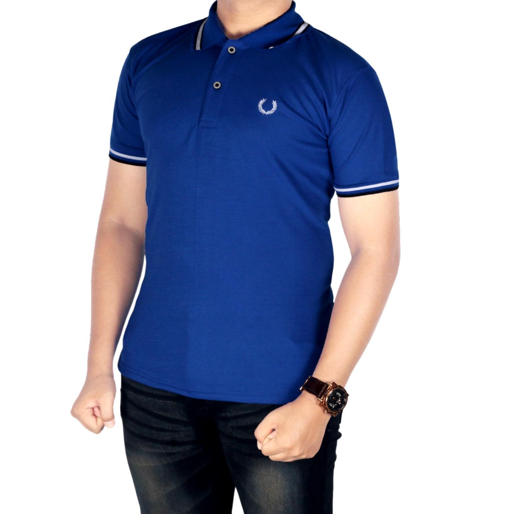 Dgm_Fashion1 baju kaos kerah pria / Kaos Polo Kerah Sanghai/Polo Kerah/Kaos Polo Pria Kerah Sanghai/Kaos Polo Pria Sanghai KombinasiKaos PoloShirt Pria/Polo men/Kaos Polo/Polo Kaos/Kaos Polo Six IP 5515 Biru