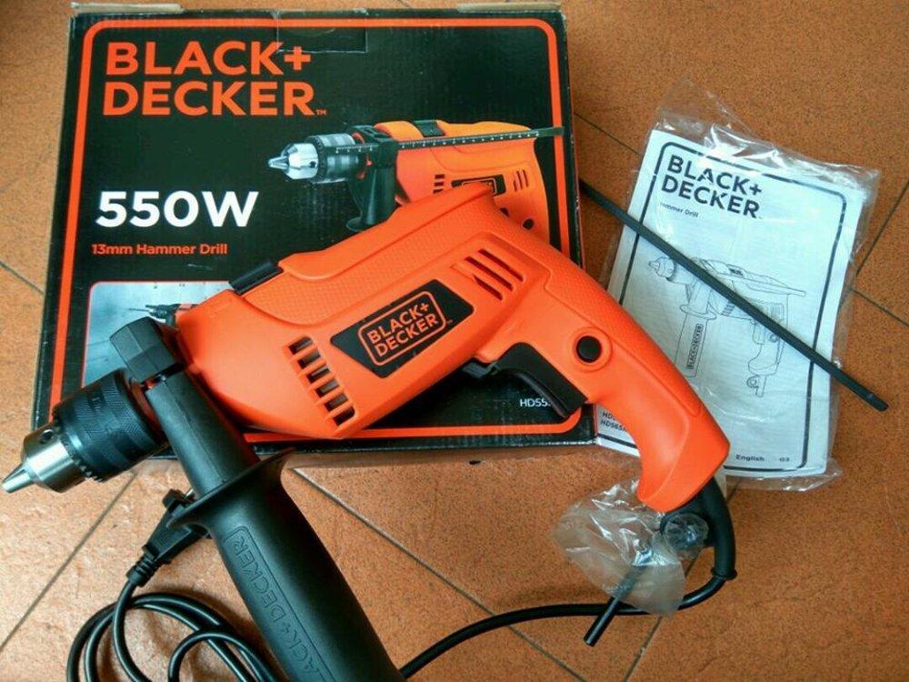 Mesin Bor Impact 13mm Hammer Drill Black+Decker HD555
