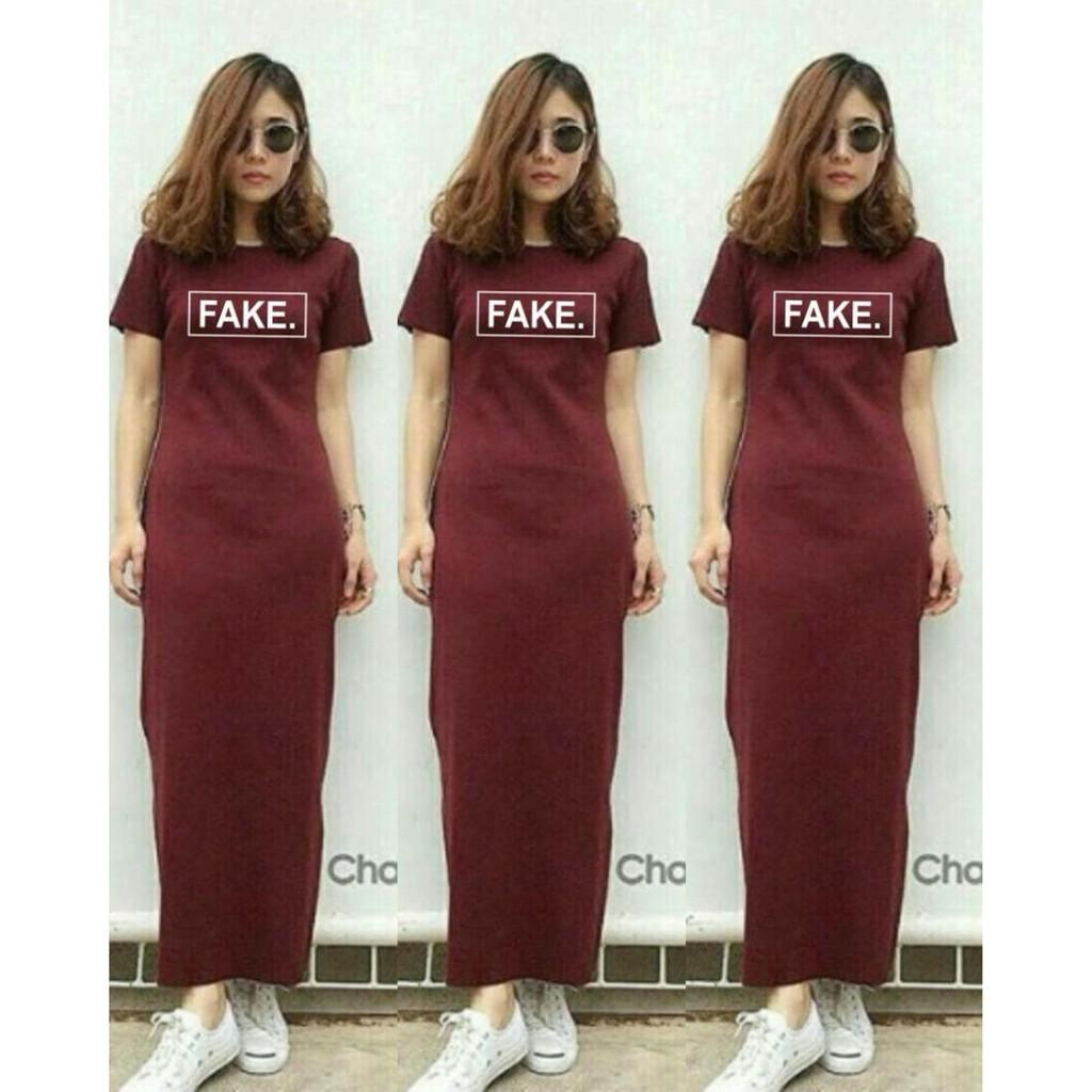 Mini Dress Elsa Maxy Dress Fake No.146 - Maroonred Maxy Wanita Tshirt kode dhala-FF29