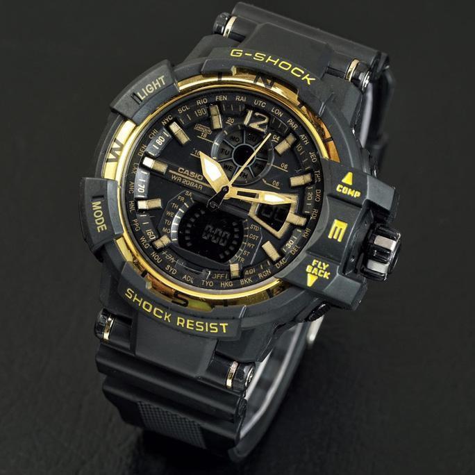 G Shock Gwa 1100 Lis Gold Hitam Black Gshock Gwa1100 Jam Tangan Pria - Timewatch
