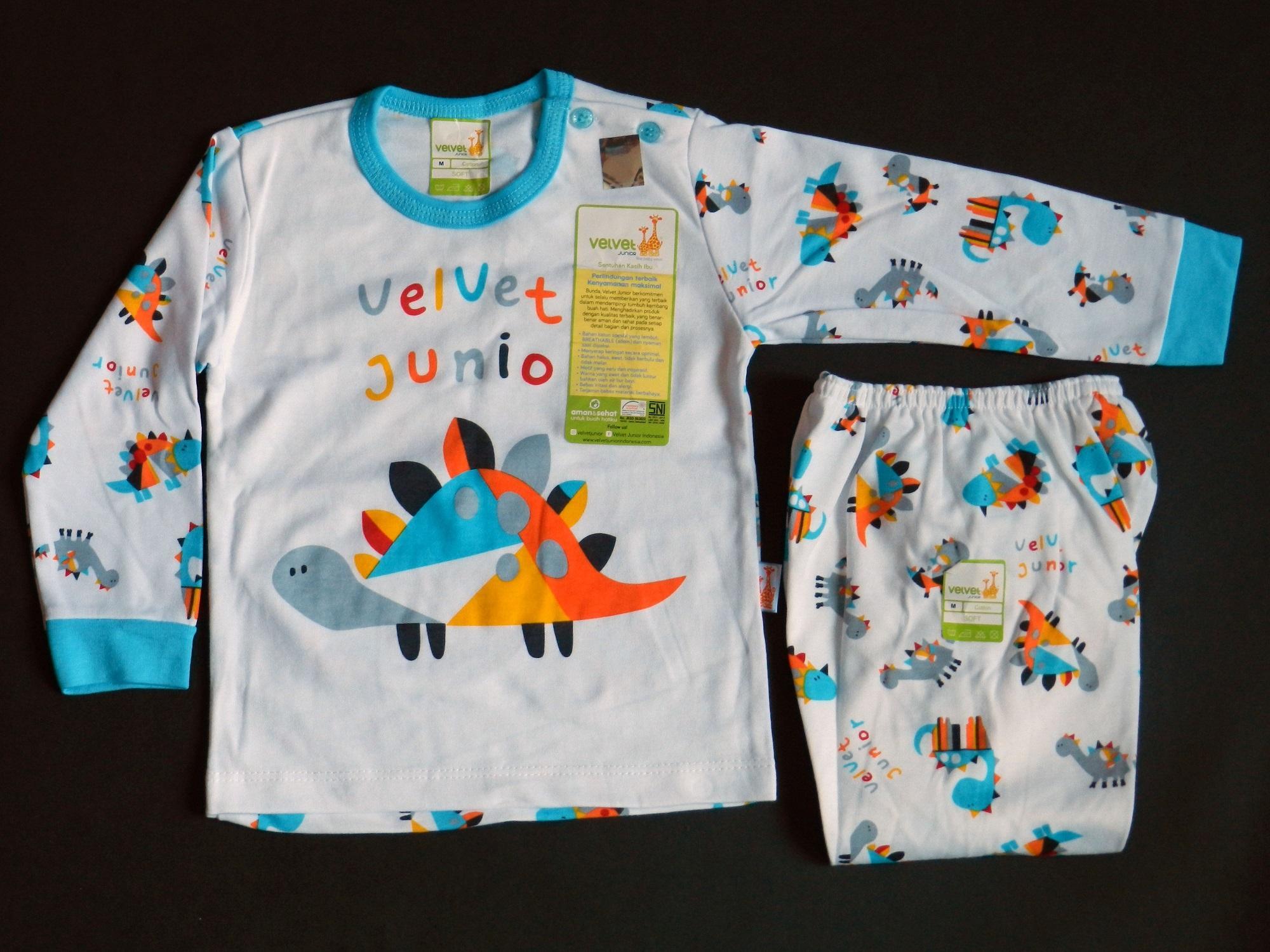 Baju Bayi Setelan Velvet Blok Panjang Kancing Pundak Size XXL