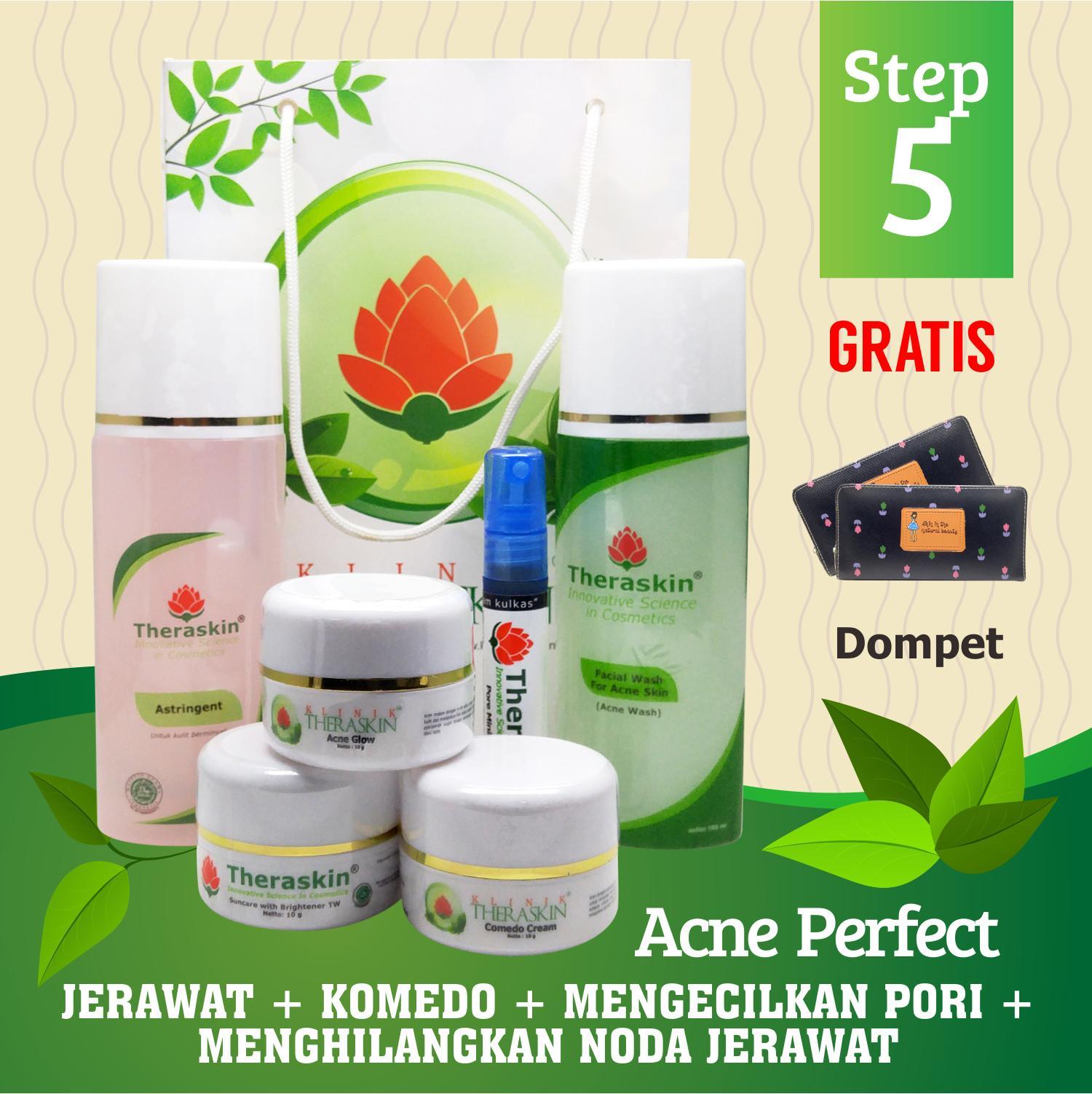 Paket Theraskin Acne Perfect Glowing Flek Step 5 / Paket Theraskin Jerawat + Komedo + Mengecilkan Pori - Pori + Gratis Dompet