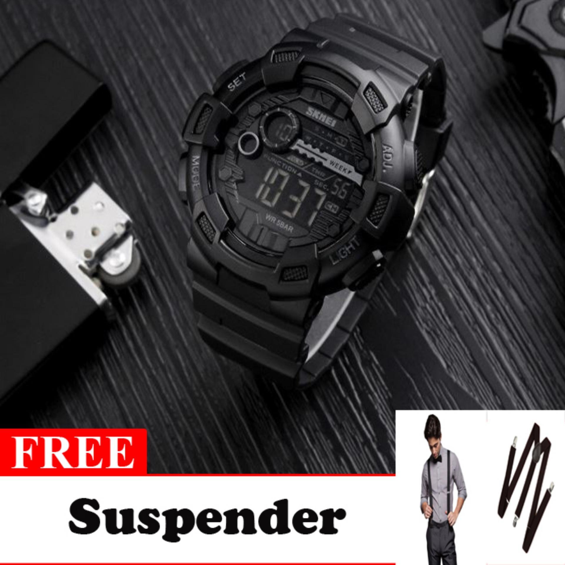 SKMEI Laser Hitam - Jam Tangan Pria - Strap Karet - 1243 Sport Black + Free Suspender Keren
