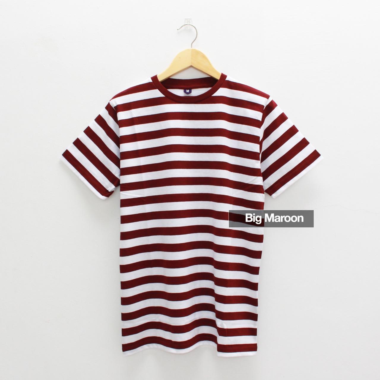 Baju Kaos STRIP BIG MAROON / Kaos Garis Merah Marun / Kaos Salur Tangan / Lengan Pendek Pria Wanita