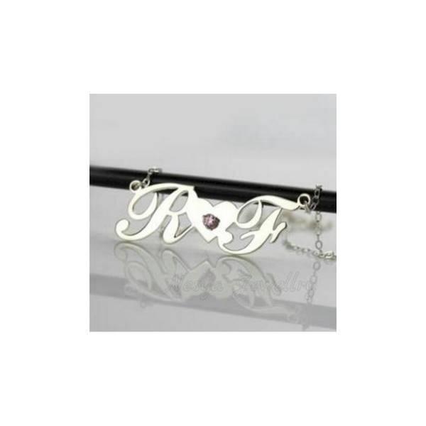 Kalung Nama Lapis Emas Putih Inisial Couple Nj.02