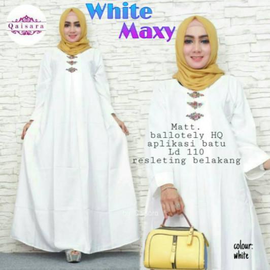 Gamis Putih Syari Umroh WN47 - Gamis Polos Muslimah