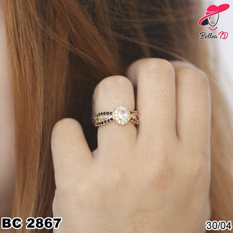 Cincin Emas Berlian Mata 1 Batu Hitam Ekslusif Murah C 2867