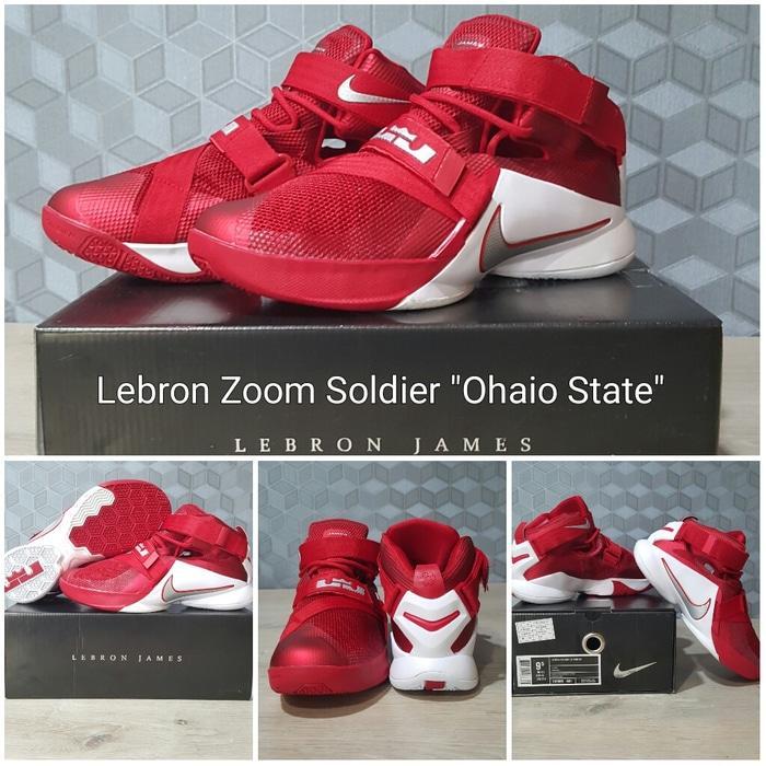sepatu basket lebron zoom soldier 9 (IX) ohio state red white