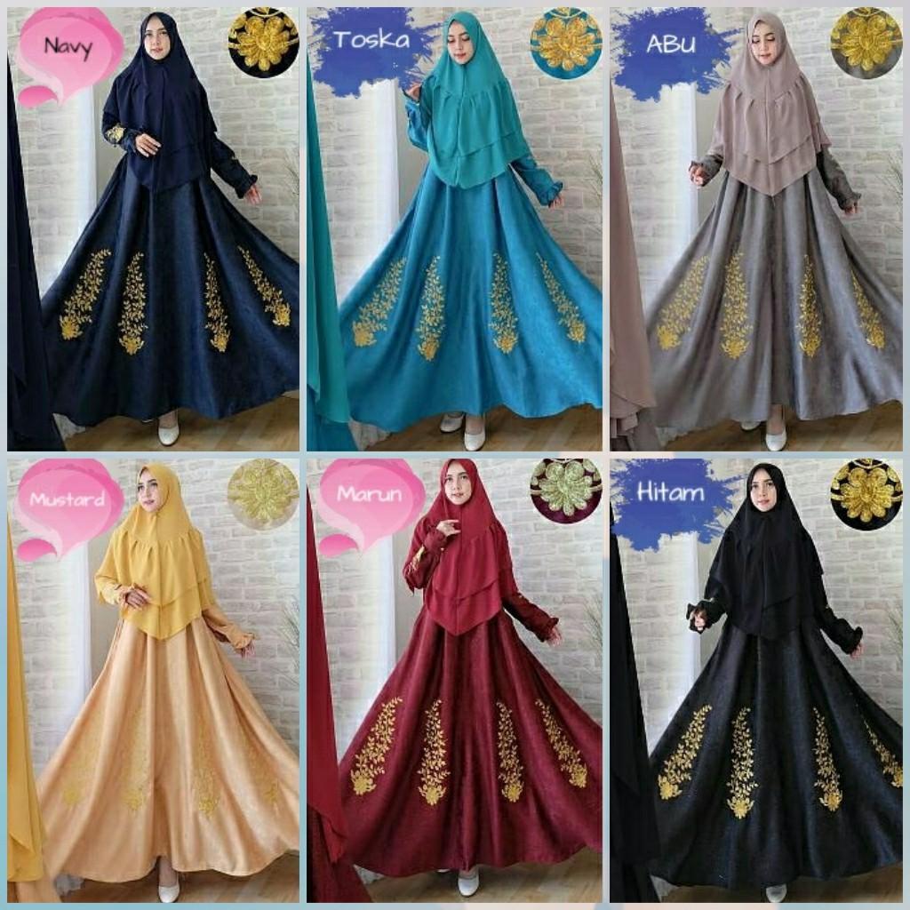 NEW!!Baju Muslim Syari Eli Gaun Pesta Jumbo Xxl Mewah Hijab Gamis Embos GL