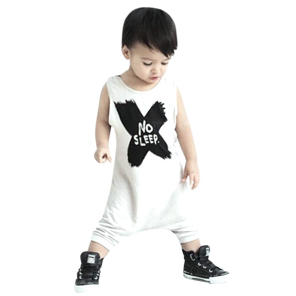 Baby Boy Girl Pakaian Set Baju Monyet Huruf Bayi Pakaian (Putih) (80)