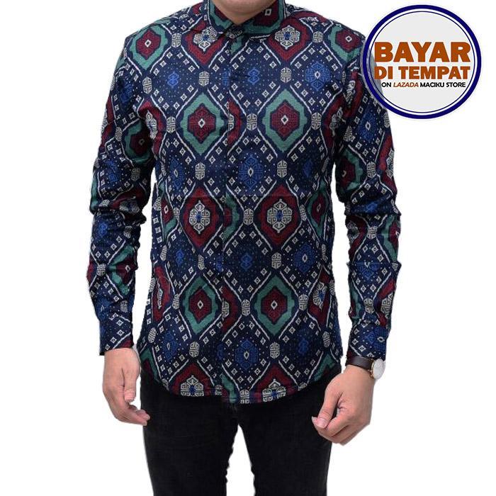 Maciku Kemeja Batik Songket Pria Lengan Panjang Slimfit Biru Dongker / Baju batik atasan pria Long Navy / kemeja batik kantor Best Seller